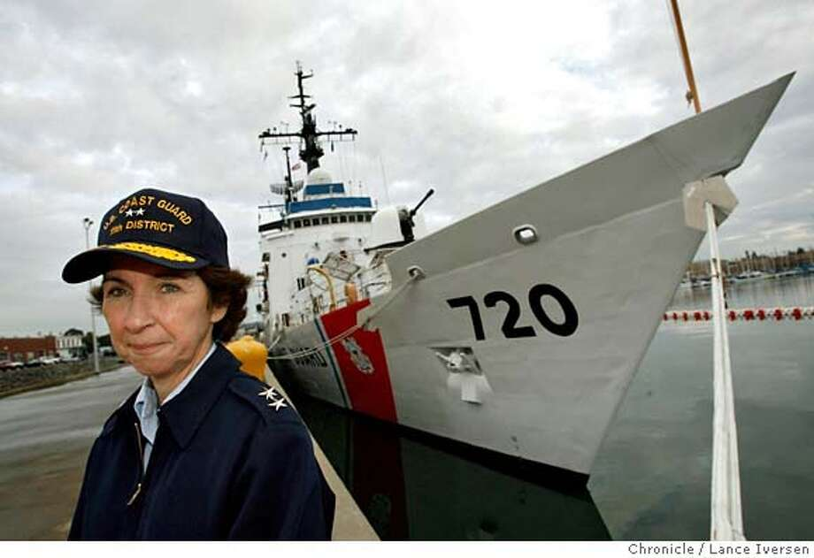 ADMIRAL_3796.JPG  US Coast Guard Admiral Jody Breckenridge poses in front of the Cutter Sherman, a high endurance Cutter used in the fight against drugs that's in port at the Alameda Coast Guard Island.  DECEMBER 12, 2006  ALEMEDA.  By Lance Iversen/San Francisco Chronicle MANDATORY CREDIT PHOTOG AND SAN FRANCISCO CHRONICLE/ MAGS OUT Photo: By Lance Iversen