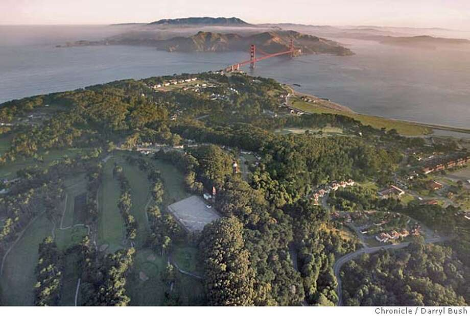 Aerial view of Presidio early morning with the Golden Gate Bridge in the background.  Event on 6/15/05 in San Francisco.  Darryl Bush / The Chronicle Photo: Darryl Bush
