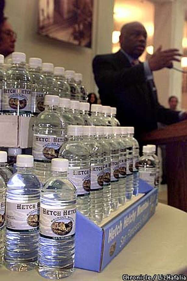 WATER-C-25MAR03-MT-LH--Mayor Willie Brown introduces Hetch Hetchy water by the half-liter as San Francisco gets into the bottled water industry. (PHOTOGRAPHED BY LIZ HAFALIA/THE SAN FRANCISCO CHRONICLE)