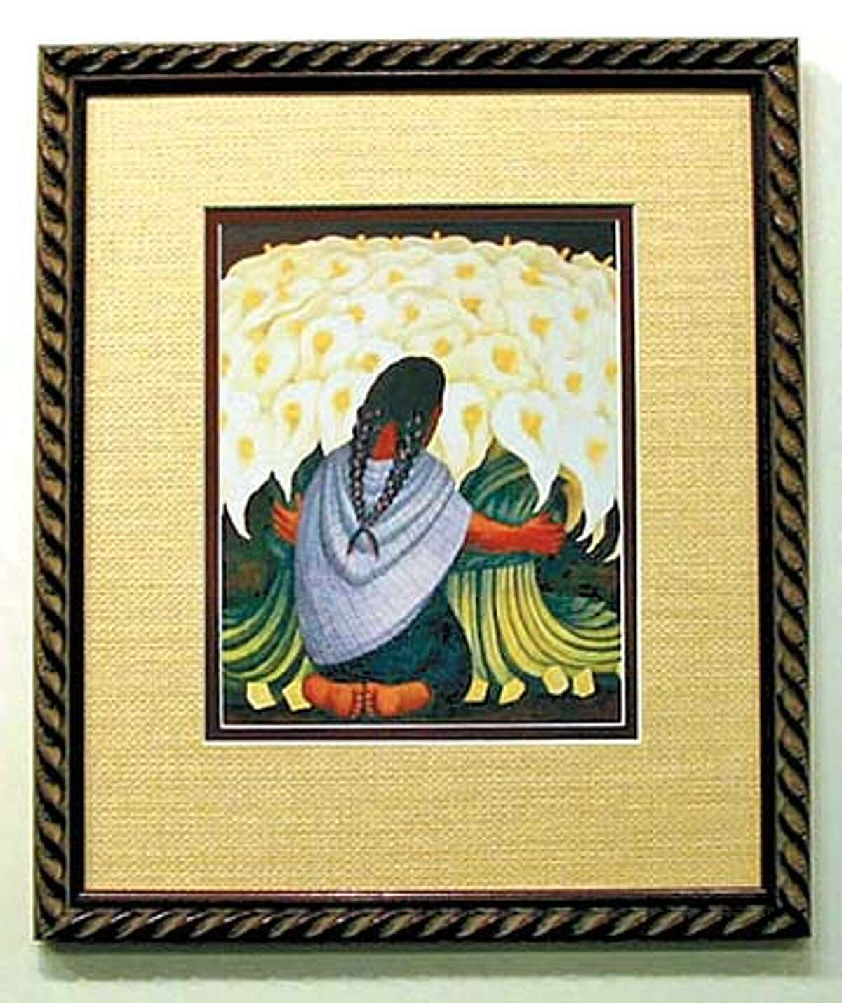 HOTSTUFF26-C-13MAR03-HM-HO --- The Diego Rivera is a $4. print which Stan brought in to frame. We have carried these in the store and plan to have them again within a couple of weeks. We have many small pieces like this on our gallery walls. Items on t