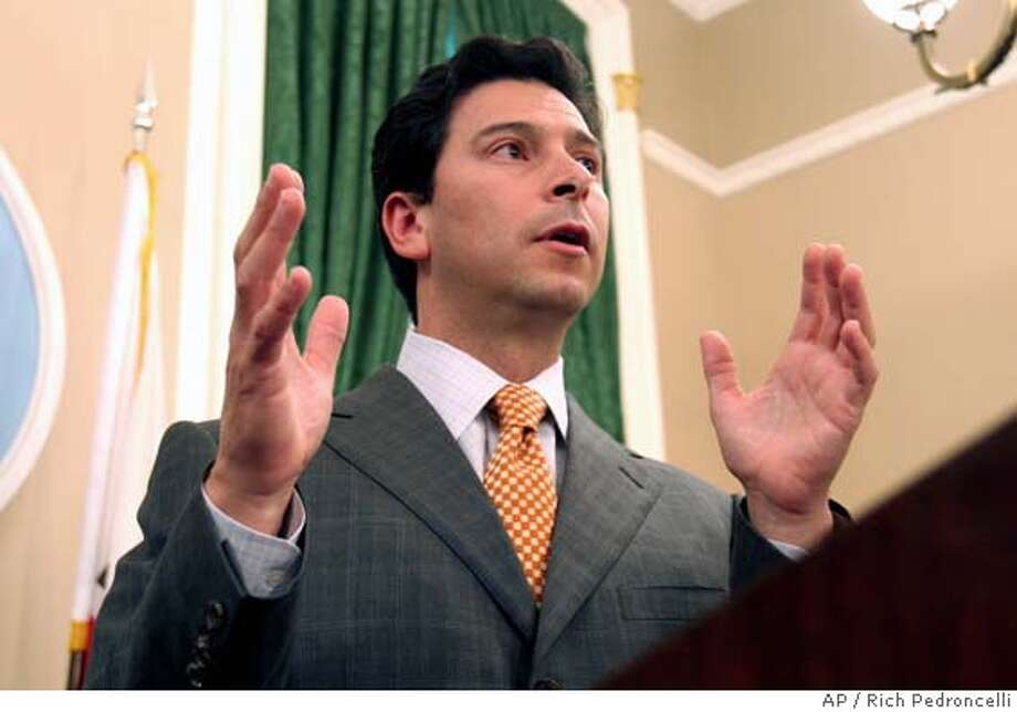 Assembly Speaker Fabian Nunez, D-Los Angeles, tells reporters that he was supportive of Gov. Schwarzenegger's goal to work with Democrats, but pointed out that the governor had rejected the latest Democratic budget proposal, during a Capitol news conference in Sacramento, Calif, Tuesday, June 21, 2005. Earlier Schwarzenegger held his own news conference and called on a more bipartisian effort to reach a budget agreement. (AP Photo/Rich Pedroncelli) Photo: RICH PEDRONCELLI