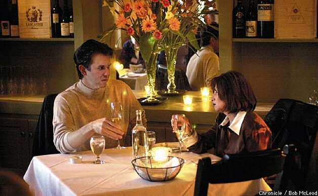 Marc Reyburn and Gia Fuesz dine at the Farmhouse Inn in Forestville. Chronicle photo by Bob McLeod