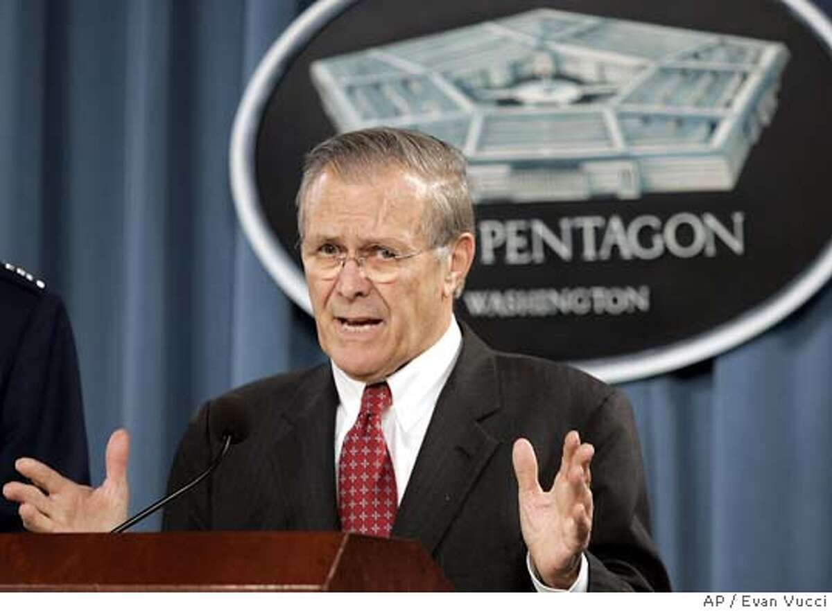 Defense Secretary Donald Rumsfeld gestures during a news conference on Wednesday, Dec. 22, 2004 in Washington. (AP Photo/Evan Vucci)