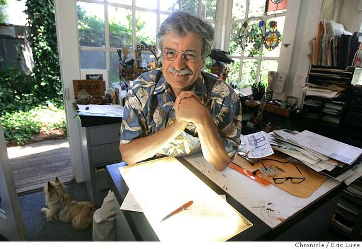 philfrank_018_el.JPG At his home in Sausalito working on the 30th Anniversary strip. The 30th anniversary of Phil Frank's comic stip is coming up, and datebook is doing a cover story on it. we'd like a portrait of him in his studio and on his ferry boat for the centerpiece photos. Event on 6/2/05 in Sausalito. Eric Luse / The Chronicle MANDATORY CREDIT FOR PHOTOG AND SF CHRONICLE/ -MAGS OUT
