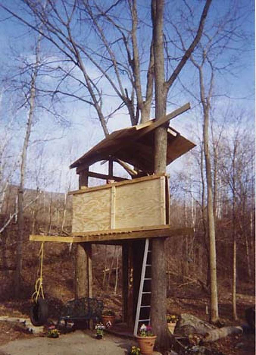 The treehouse, and Leonard and Naomi Wolf in 1966.