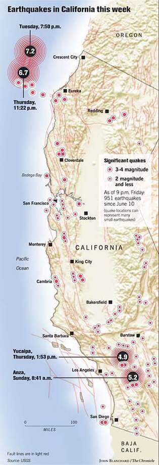 Earthquakes in California this week. Chronicle graphic by John Blanchard