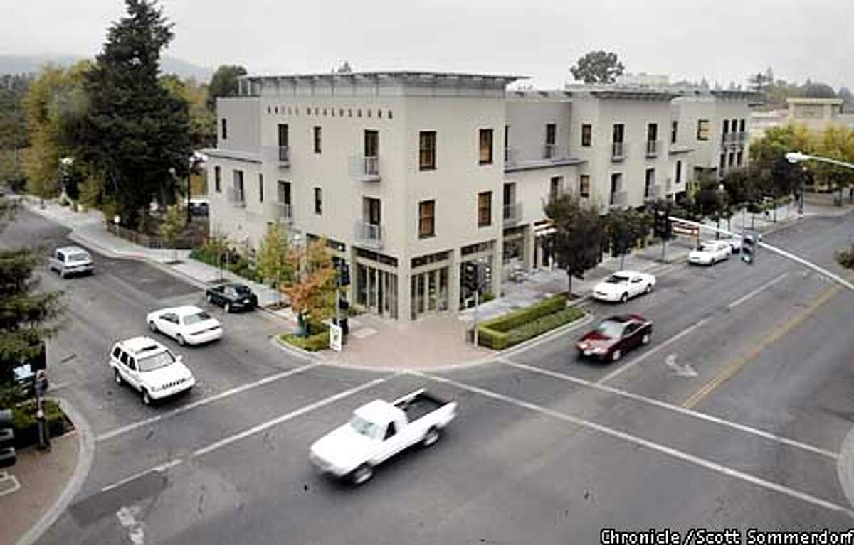 Exterior view of the Hotel Healdsburg from the roof of the Brandt Building at the intersection of Matheson Street and Healdsburg Ave in downtown Healdsburg, California. SF CHRONICLE PHOTO BY SCOTT SOMMERDORF