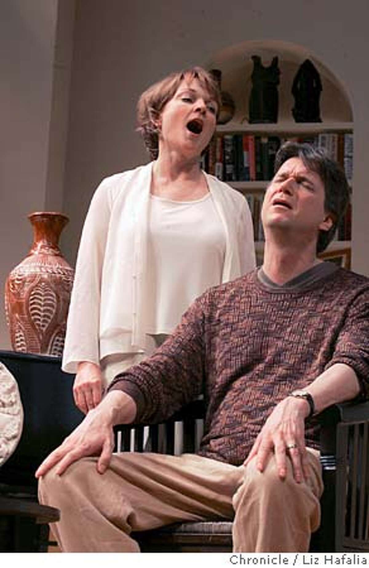 """GOAT17085_LH.JPG Dress rehearsal for Edward Albee's """"The Goat"""" at ACT. Leads Don McManus as Martin and Pamela Reed as his wife Stevie. Photographed by Liz Hafalia on 6/9/05 in San Francisco, CA. Creditted to the San Francisco Chronicle/Liz Hafalia"""