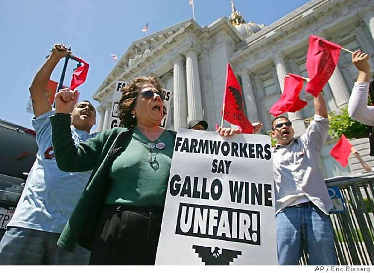 Carla Parera, of Florida, cheers on a boycott of Gallo wines during a rally outside City Hall in San Francisco, Tuesday June 14, 2005. The United Farm Workers union is asking consumers to stop buying Gallo wine, saying the California vintner isn't treating workers fairly in contract negotiations. The rally kicked off the UFW's first major nationwide boycott in more than 20 years.(AP Photo/Eric Risberg)
