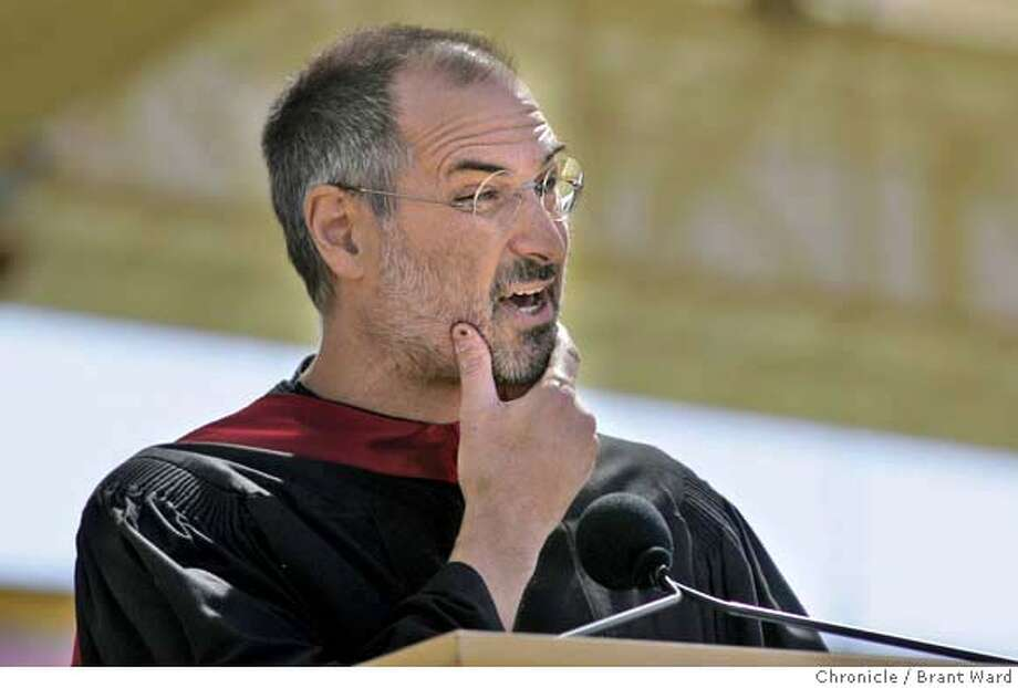 stanford742_ward.jpg  Steve Jobs told three stories from his past to help illustrate his graduation day message.  At Stanford's 114th graduation commencement, Steve Jobs, the CEO of Apple and Pixar, gave the keynote speach.  Brant Ward 6/13/05 Photo: Brant Ward