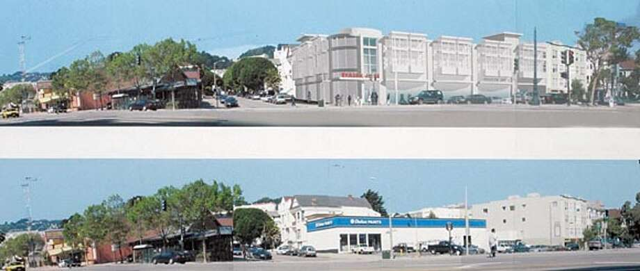Proposed Trader Joe's store at 2112 15th St. in San Francisco. SHOWN: Proposed street elevation (top picture), and existing street view (bottom picture). These photo collages are from MCG Architecture. THIS IS A COPY SHOT!!! Photo taken on 6/6/05, in SAN FRANCISCO, CA.  By Katy Raddatz / The San Francisco Chronicle Photo: Katy Raddatz