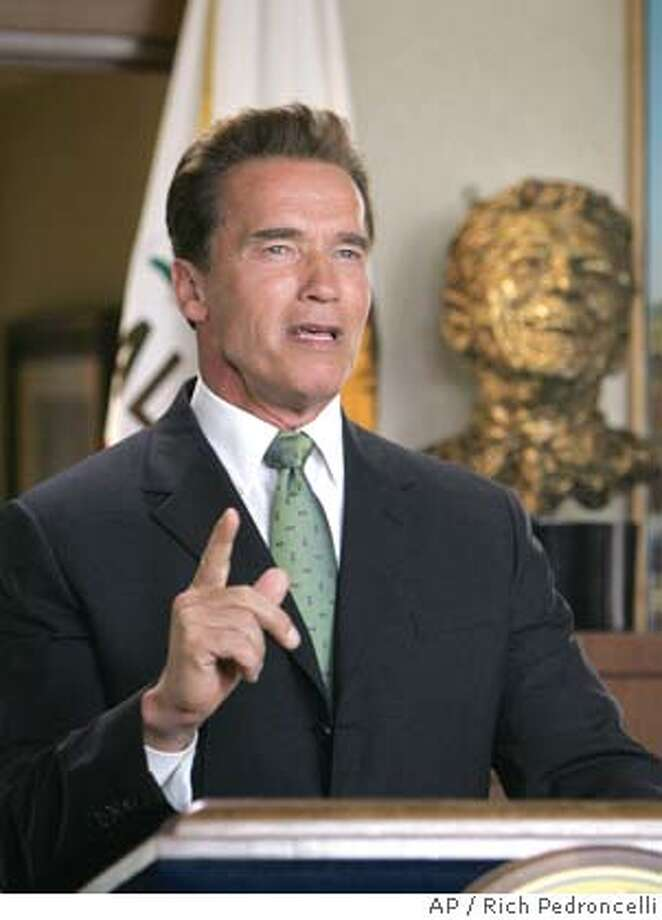 California Gov. Arnold Schwarzenegger rehearses his remarks, calling for a , moments before making a live television broadcast from his Capitol office in Sacramento,Calif., Monday, June 13,2005. Schwarzenegger announced that he will set Nov. 8, 2005, as the day for the to deal with several ballot intiatives ranging from the way legilsative district boundries are drawn to how long it will take teachers to get tenure. (AP Photo/Rich Pedroncelli) Photo: RICH PEDRONCELLI
