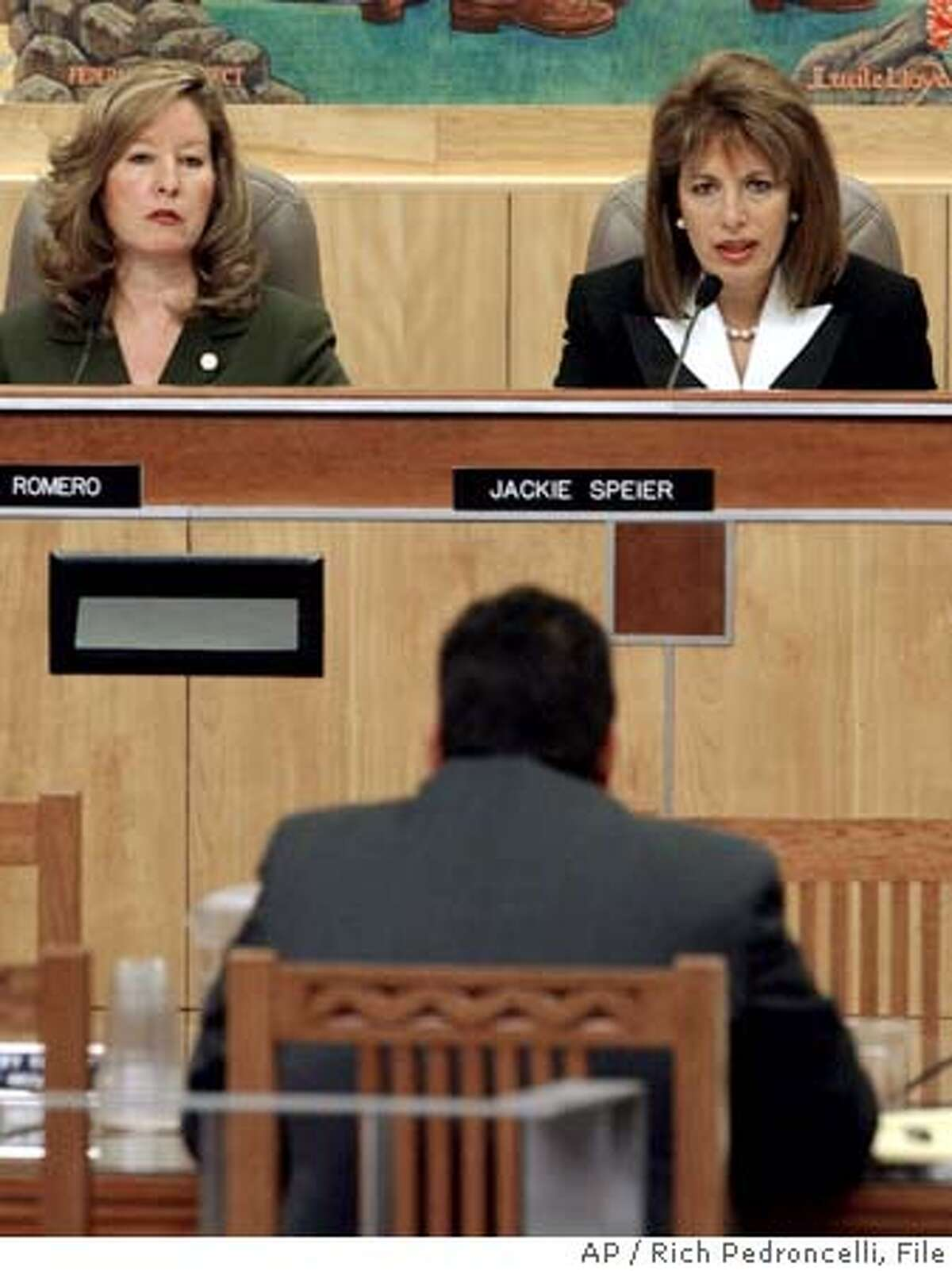 State Sen. Jackie Speier, D-Daly City, right, questions Mike Jimenez, head of the California Correctional Peace Officers Association, seated back to camera, during a hearing looking into alleged wrongdoing involving staff at Folsom Prison, at the Capitol in Sacramento, Calif., Tuesday, Jan. 20, 2004. At left is state Sen. Gloria Romero.(AP Photo/Rich Pedroncelli) also ran 03/29/2004 Gloria Romero and Mark Leno are presenting bills that would open prison doors to journalists. ProductNameChronicle State Sen. Gloria Romero said the Youth Authority must make wholesale changes. ProductNameChronicle State Sen. Jackie Speier of Hillsborough (right) questions Mike Jimenez, head of the prison guards union, at a January hearing.