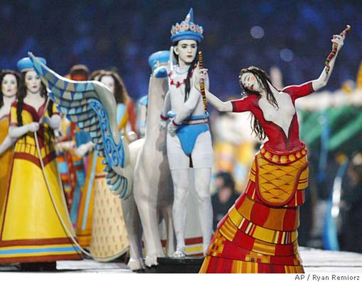 Performers portray scenes from Greek mythology during opening ceremonies for the 2004 Summer Olympics in Athens, Friday, August 13, 2004.(AP Photo/Ryan Remiorz)