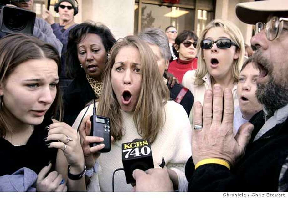 Peterson_002_CS.JPG  From left, Krystyna Wiener, Kimberly Hovorka, and Howard Kutzly, react as they hear the verdict with crowds gathered outside the San Mateo County Courthouse in Redwood City, Ca., on Monday, December 13, 2004, for the sentence recommendation. The jury returned with a sentence recommendation of death in the penalty phase of the Scott Peterson murder trial. Peterson was convicted of two counts of murder in the deaths of his wife Laci Peterson and her unborn child. Photo by Chris Stewart / The San Francisco Chronicle  Photo taken on 12/13/04, in Redwood City, CA Ran on: 12-14-2004  The Peterson jury, shown during a news conference after the penalty was announced, decided on the death penalty for the murder of the mother and son after 11 hours and 30 minutes of deliberations. Ran on: 12-14-2004  The Peterson jury, shown during a news conference after the penalty was announced, decided on the death penalty for the murder of the mother and son after 11 hours and 30 minutes of deliberations. Photo: Chris Stewart
