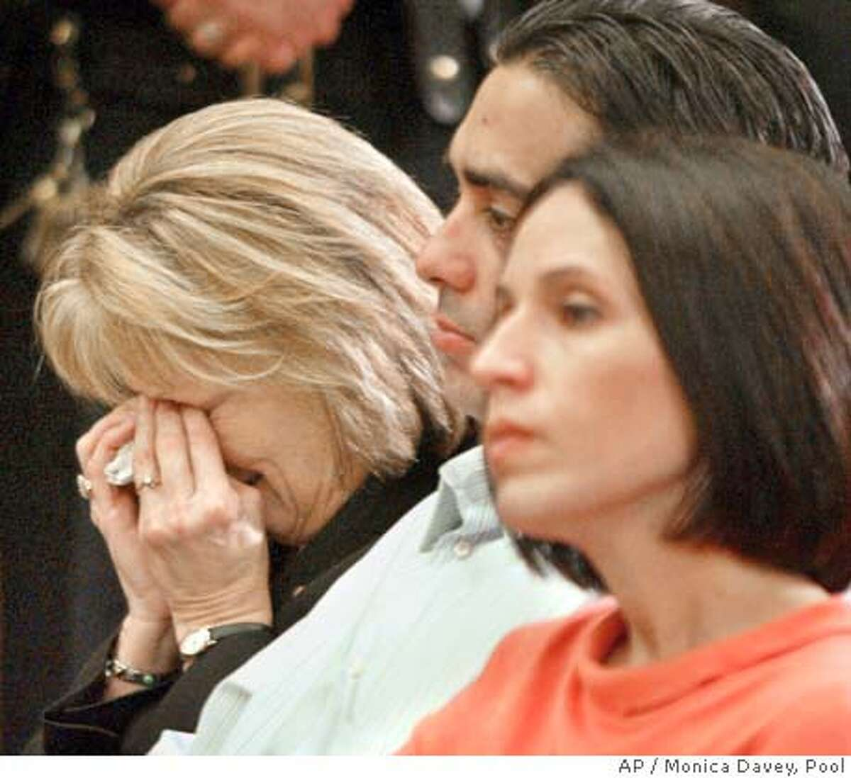 ** RETRANSMIT TO ADD MOTHER ** Sharon Rocha, Laci 's mother, left, Brent Rocha and his wife Rose Marie Rocha, right, are seen during a news conference after the verdict in Redwood City, Calif., Monday, Dec. 13, 2004. The jury returned with a sentence recommendation of death in the penalty phase of the Scott case. was convicted of two counts of murder in the deaths of his wife Laci and their unborn child. (AP Photo/EPA, Monica Davey, POOL)