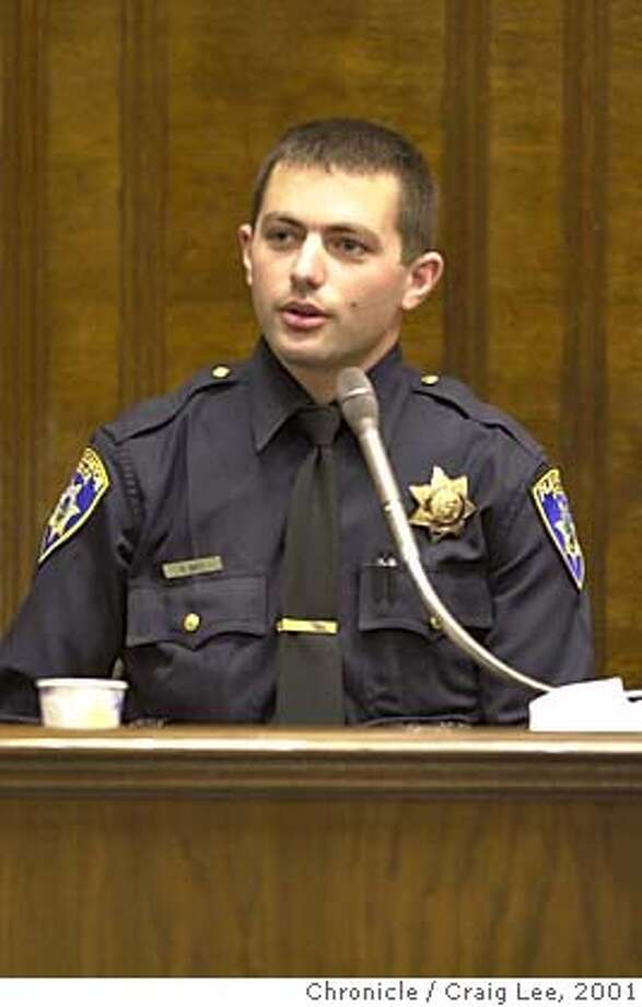 RIDERS08-C-07JUN01-MT-CL  Keith Batt, a former rookie Oakland Police Officer, testifies about working with the Riders, a group of four cops charged with corruption based on his tip to superiors that they were planting drugs on suspects and roughing them up on the night shift. Batt now works as a cop in Pleasanton. Photo by Craig Lee/San Francisco Chronicle  ALSO RAN 9/18/02, 5/30/03, 10/01/03 CAT w/JURORS Photo: CRAIG LEE