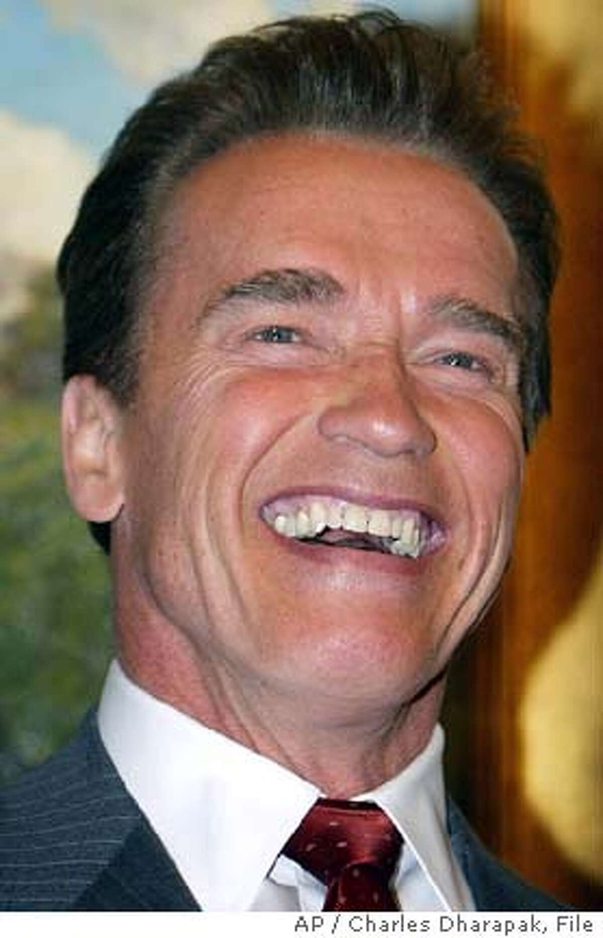 """** FILE **California Gov. Arnold Schwarzenegger reacts to a question while meeting with reporters Feb. 24, 2004, in Washington. . Schwarzenegger will return to the big screen next year to make a cameo in a comedy written and produced by friend Tom Arnold. Schwarzenegger said he's in """"The Kid and I"""" during an appearance Monday, Dec. 13, 2004, on Fox's """"The Best Damn Sports Show Period,"""" which is co-hosted by Arnold. (AP Photo/Charles Dharapak, File)"""