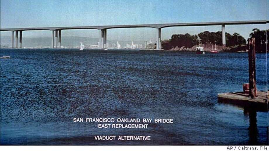 "This is an artist's conception of the newly proposed Eastern section viaduct or ""skyway"" replacement alternative of the Oakland-San Francisco Bay Bridge shown by Caltrans officials Thursday, Feb. 13, 1997, in Oakland, Calif. This bridge, if approved, will cost approximately $1 billion, taking an estimated seven years to complete, replacing the existing Eastern side of the Bay Bridge, which connects Yerba Buena Island with the Oakland shore. (AP Photo/Caltrans HO). ALSO RAN 3/10/97 Photo: LEA SUZUKI"