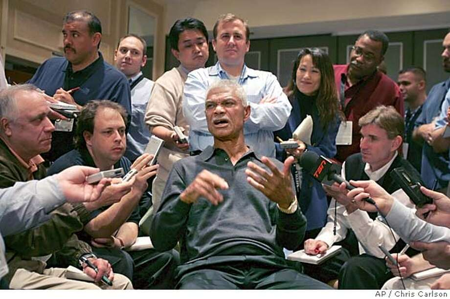 San Francisco Giants manager Felipe Alou talks with the media during a news conference at the MLB winter meetings in Anaheim, Calif., on Sunday, Dec. 12, 2004. (AP Photo/Chris Carlson) Ran on: 12-13-2004  Felipe Alou spoke of steroids in the context of baseball history. Photo: CHRIS CARLSON