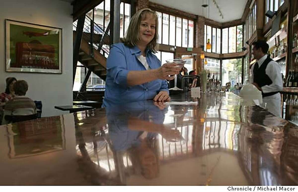 """cooksnightout_021_mac.jpg Cooks night out feature, Nancy Oakes relaxes at the bar at """"Zuni Cafe"""", along Market St. in san Francisco. 5/27/05 San Francisco, Ca Michael Macor / San Francisco Chronicle Mandatory Credit for Photographer and San Francisco Chronicle/ - Magazine Out"""