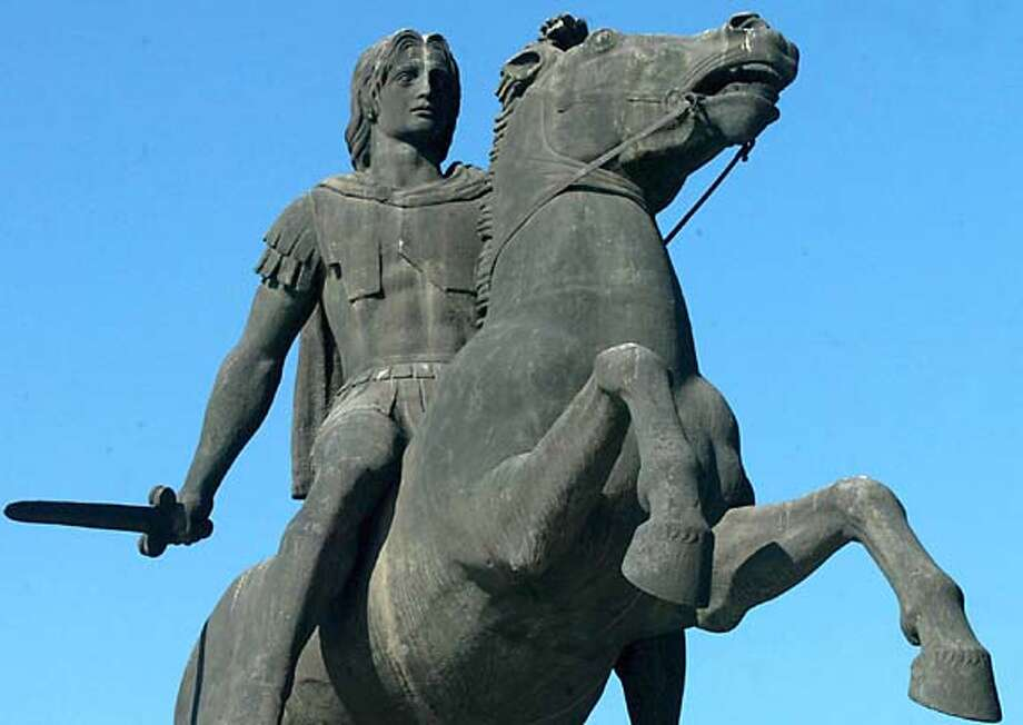 TRAVEL GREECE Thessaloniki -- A statue of the Alexander the Great stands in the northern Greek port city of Thessaloniki, on Friday, Nov. 26, 2004. The Oliver Stone movie, which opened in the United States on Wednesday, Nov. 24, 2004 and stars Colin Farell, has drawn a protest from a group of Greek lawyers, angered at the portrayal of the legendary warrior king as bisexual.  (AP Photo/Nikolas Giakoumidis) Photo: NIKOLAS GIAKOUMIDIS