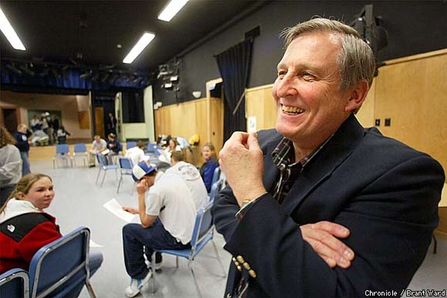 Acalanes High School drama instructor Tom Eggertsen considers himself a reborn teacher after the conversion of a cafeteria into a drama classroom and a new auditorium in Lafaette. Here he laughs while conducting a class in the old cafeteria which now features stage lighting and a large useful space to stage his plays. By Brant Ward/Chronicle Photo: BRANT WARD