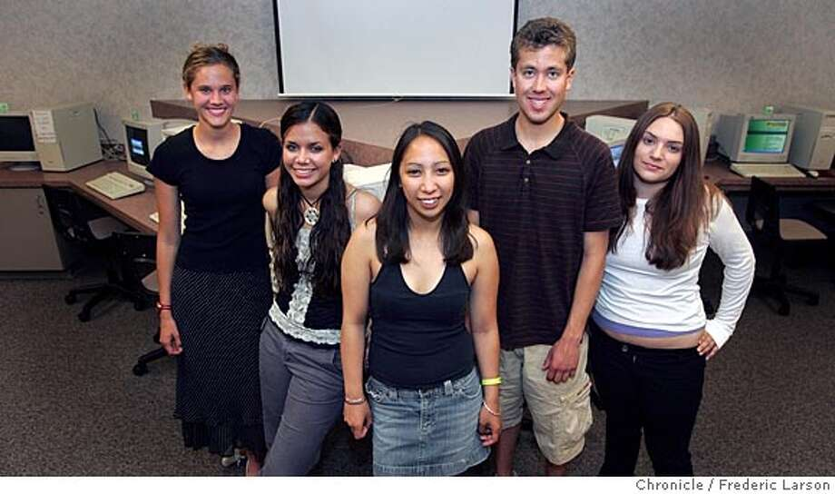 NBTEACH_039_fl.jpg(L-R) Amy Robinson, Janae Familoe, Nikki Purugganan, Tim Cumbo and Taylor Coudray are five of twenty graduating seniors from Maria Carrillo High School in Santa Rosa share their thoughts in essays on leaving high school. The essays run the gamut from funny to poignant to just plain wacky.  5/25/05 Santa Rosa CA Frederic Larson The San Francisco Chronicle Photo: Frederic Larson