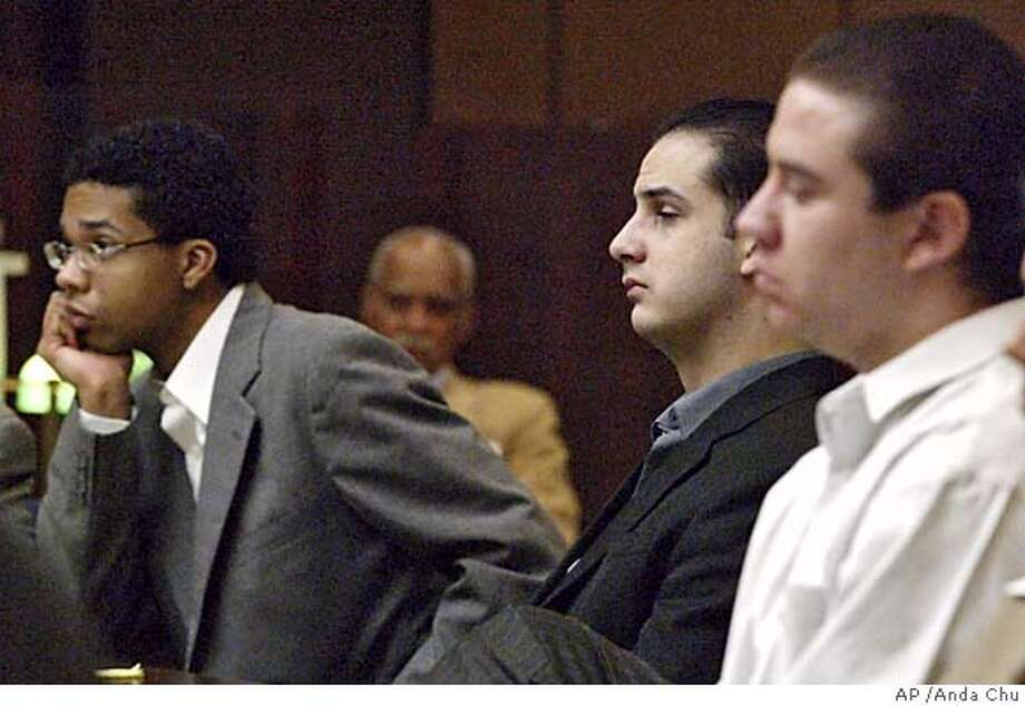 "Defendants in the Eddie ``Gwen'' Araujo murder trial, Jose Merel, left, Michael Magidson, center, and Jason Cazares, right, listen to closing arguments Tuesday, June 1, 2004, in Hayward, Calif. A prosecutor asked jurors to find the three men guilty of murder in the death of the transgender teenager, saying they acted coldly and deliberately and were not, as a defense attorney claimed, panicked by the shock of sexual deception. ""Eddie Araujo was a real human being. He laughed and he cried. He had friends and family who loved him,"" prosecutor Chris Lamiero said in his closing argument Tuesday. (AP Photo/Anda Chu, Pool) Defendants Jose Merel (left), Michael Magidson and Jason Cazares are on trial for murder and a hate crime in Gwen Araujo's death. Defendants Jose Merel (left), Michael Magidson and Jason Cazares are on trial for murder and a hate crime in Gwen Araujo's death. Defendants Jose Merel (left), Michael Magidson and Jason Cazares are on trial for murder and a hate crime in Gwen Araujo's death. Defendants Jose Merel (left), Michael Magidson and Jason Cazares are on trial for murder and a hate crime in Gwen Araujo's death. POOL Photo: ANDA CHU"
