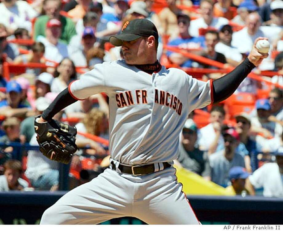 San Francisco Giants pitcher Noah Lowry delivers a pitch in the first inning against the New York Mets at New York's Shea Stadium, Saturday June 4, 2005. (AP Photo/Frank Franklin II) Photo: FRANK FRANKLIN II