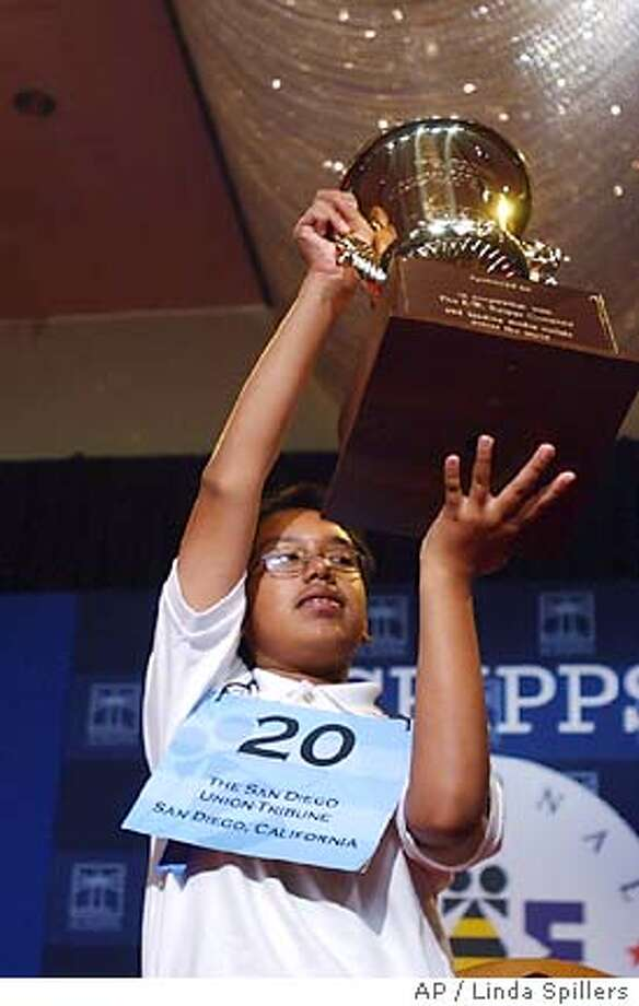 Anurag Kashyap, 13, of Poway, Calif. celebrates after winning the 78th annual National in Washington,Thursday, June 2, 2005. (AP Photo/Linda Spillers) Photo: LINDA SPILLERS