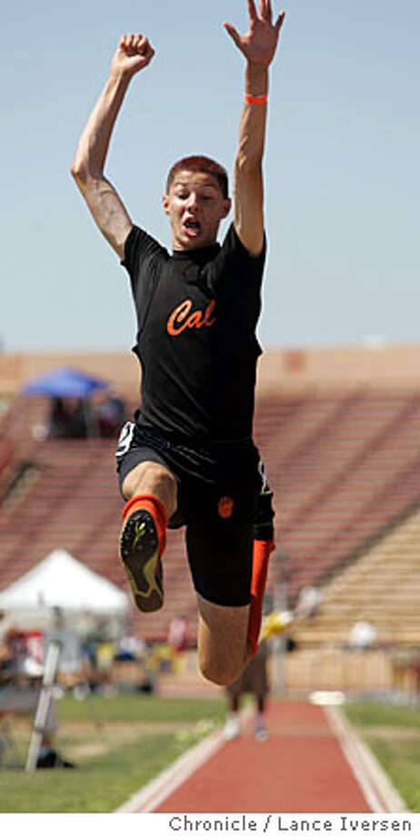TRIALS05_014.jpg_  David Klech from California High School in San Ramon goes airborn in the Boys Long Jump at the annual CIF State Track and Field Championships at Huhes Stadium, Sacramento. By Lance Iversen/San Francisco Chronicle Photo: Lance Iversen