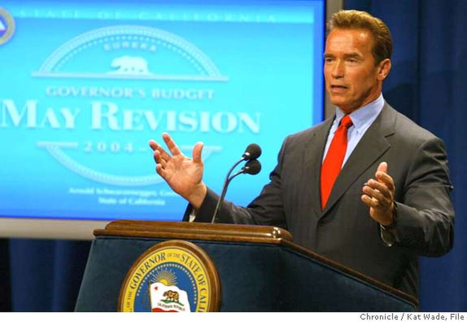 REACT_838_KW.jpg Govenor Arnold Schwarzenegger gives his May revision of the 2004/2005 fiscal budget at the Secretary of States office in Sacramento on 5/13/04. Kat Wade/The Chronicle MANDATORY CREDIT FOR PHOTOG AND SF CHRONICLE/ -MAGS OUT Photo: Kat Wade