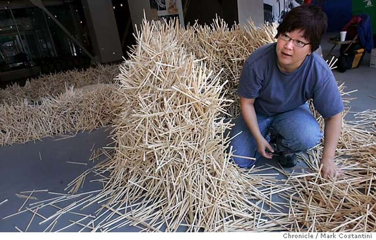 Sculptor Donna Keiko Ozawa has chopstick anxiety. Ever since she realized a few years ago that disposable chopsticks are being used by the billions each year in Japan and other countries and as a result causing global deforestation, she's been exploring the implement as an artistic, cultural and environmental subject. Her Waribashi (disposable chopsticks) project is being featured as part of United Nations World Environment Day observance June 1-5, and promises to wow viewers with its sculpture of 60,000 pairs of chopsticks. Mark Costantini/San Francisco Chronicle