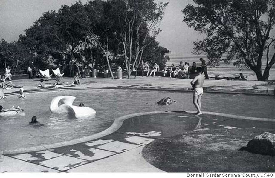 Donnell Garden  Sonoma County, 1948.  An early party at the pool.  (Thomas Church, EDA, UCB)
