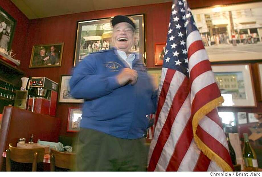pearlharbor185_ward.jpg  Johnny Johnson laughed after leading a group of Naval veterans to the Pledge of Allegiance at a bar in San Francisco.  Johnny Johnson of Lafayette and Gene Tarrant of Berkeley both served on the USS San Francisco during World War II...they were on deck at Pearl Harbor when the Japanese attack occurred.  Brant Ward 12/7/04 Photo: Brant Ward
