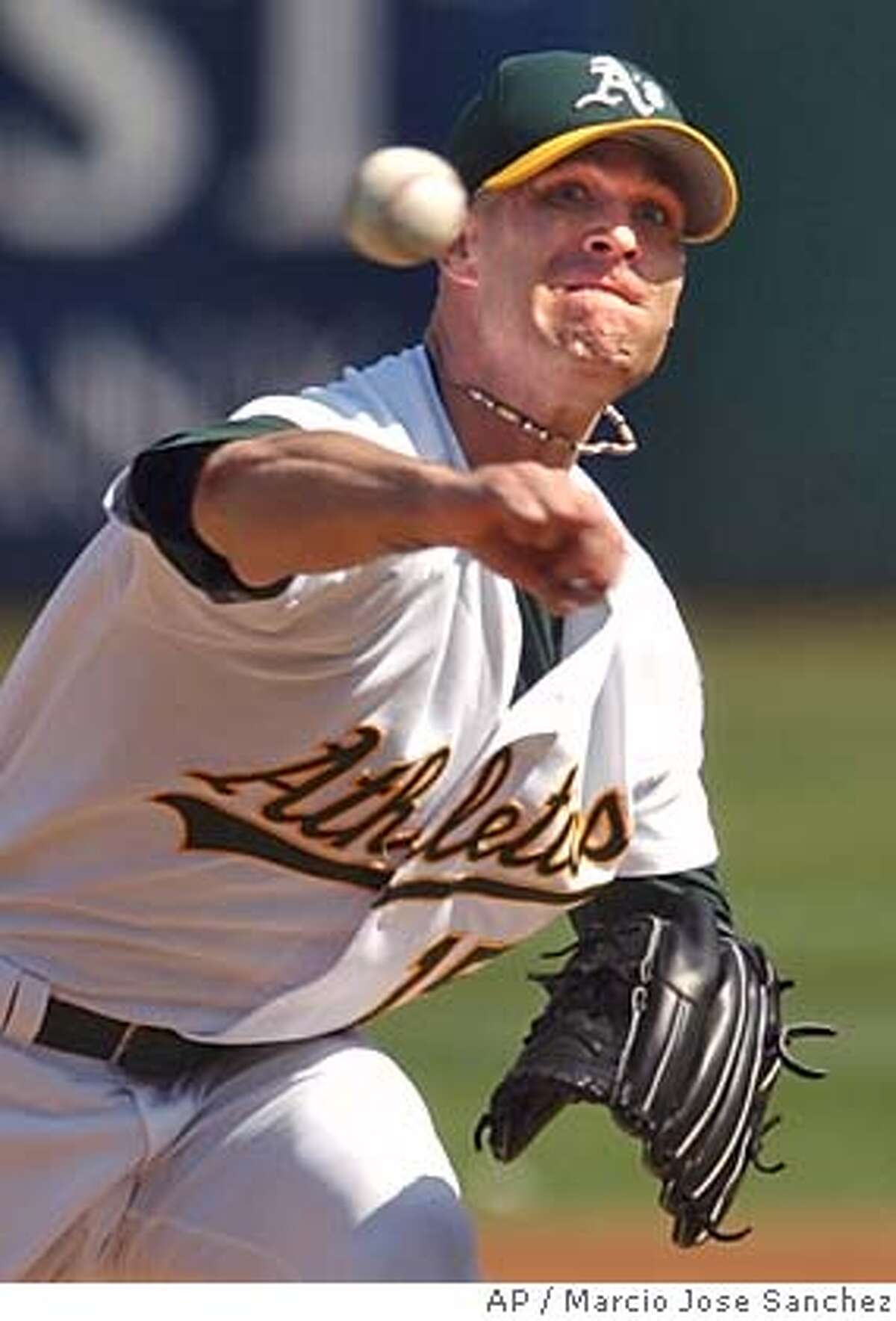 Oakland Athletics catcher Tim Hudson pitches to the Anaheim Angels in the first inning on Sunday, Oct. 3, 2004 in Oakland, Calif. Oakland won 3-2. (AP Photo/Marcio Jose Sanchez) Ran on: 10-04-2004 Tim Hudson remained a tough-luck starter in the season finale with his ninth no-decision of 2004 and 30th in the last three years. Sports#Sports#Chronicle#12/6/2004#ALL#5star##0422392672