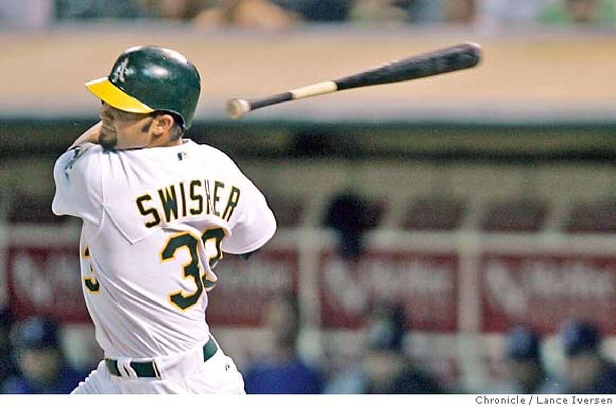 ATHLETICS_0080_LI.JPG A's Nick Swisher loses his bat. Oakland vs Texas Rangers in Oakland. By Lance Iversen/San Francisco Chronicle