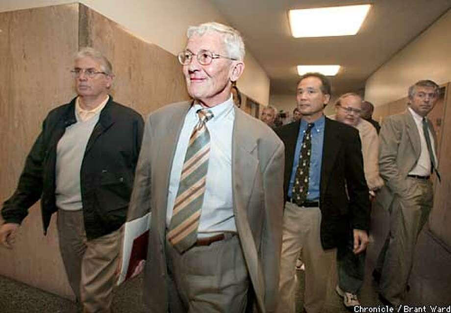 San Francisco District Attorney Terrence Hallinan looks pleased as he emerges from the arraignment of SF police top brass. By Brant Ward/Chronicle Photo: BRANT WARD