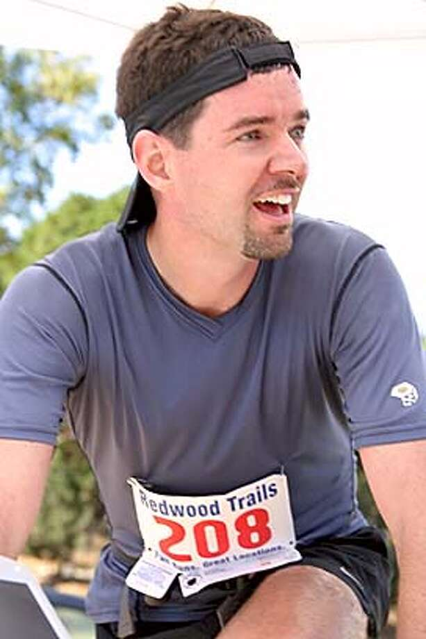 Local trail running champion Scott Dunlap takes a breather after winning the San Pablo Trail Marathon at China Camp.