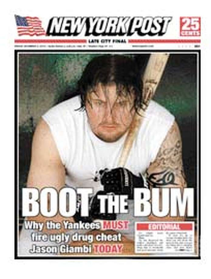 front page of the New York Post for Dec. 3, 2004. NY Yankees Jason Giambi.