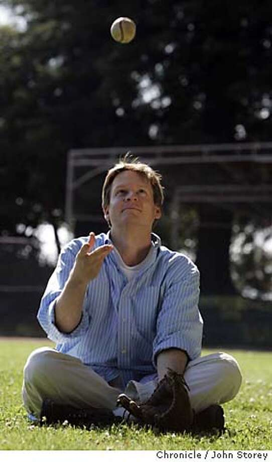 Author Michael Lewis at a baseball field in Berkeley.  John Storey Berkeley Event on 5/13/05 Photo: John Storey