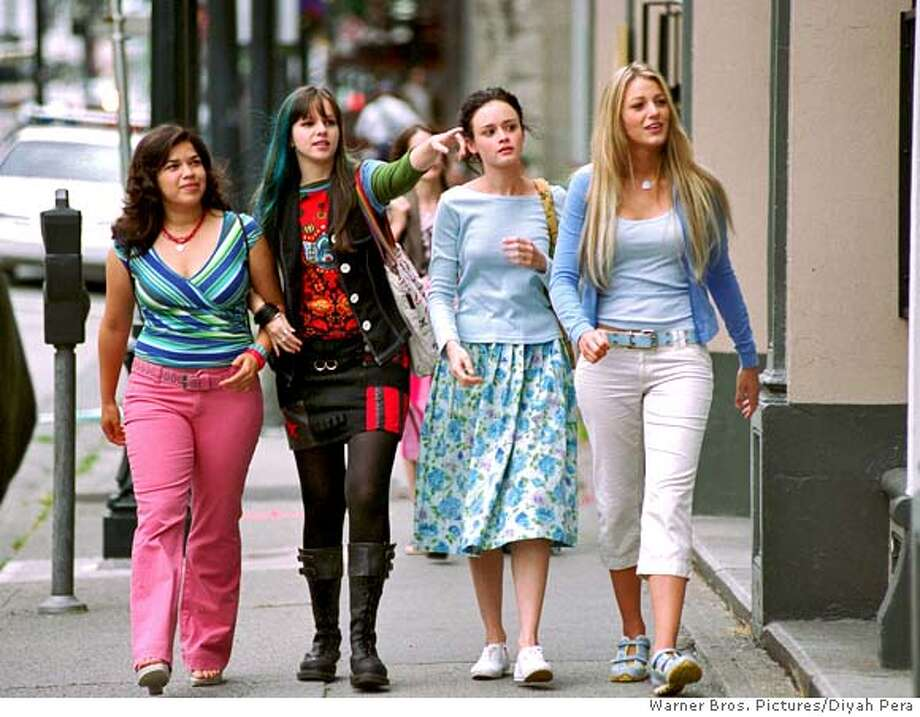 "In this photo provided by Warner Bros. Pictures, L-r: Carmen Lowell (America Ferrera), Tabitha ""Tibby"" Tomko-Rollins (Amber Tamblyn ),Lena Kaligaris (Alexis Bledel) and Bridget Vreeland (Blake Lively) are four lifelong friends with one bond they share, a cherished pair of jeans in The Sisterhood of the Traveling Pants, (AP Photo/Warner Bros. Pictures/Diyah Pera) Photo: DIYAH PERA"