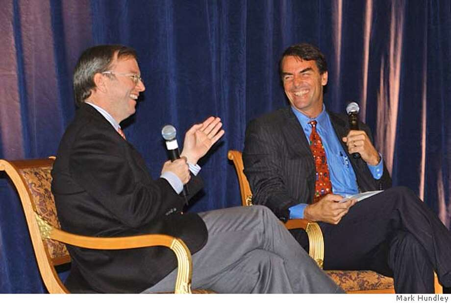 Google CEO Eric Schmidt and Venture Capitalist Tim Draper share a laugh at a luncheon benefit for BizWorld, an educational foundation that teaches kids about business. Business#Business#Chronicle#12/5/2004#ALL#2star#D2#0422497861 Photo: Mark Hundley / Freelance Photogr