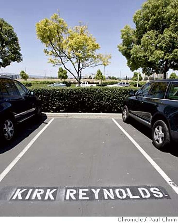 49ers_082_pc.jpg  The parking space for former public relations director Kirk Reynolds was unoccupied in front of the team's headquarters. San Francisco 49ers players and staff comment on the controversial training video at the team's headquarters on 6/1/05 in Santa Clara, Calif.  PAUL CHINN/The Chronicle MANDATORY CREDIT FOR PHOTOG AND S.F. CHRONICLE/ - MAGS OUT Photo: PAUL CHINN