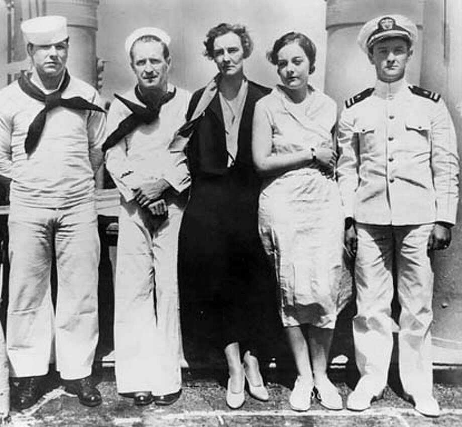 "The suspects in the murder of Joseph Kahahwai Jr., aboard the U.S.S. Alton where they were confined during their murder trial: L to R, Edward Lord, Albert ""Deacon"" Jones, Grace Fortescue (Thalia Massie's mother), Thalia Massie and her husband, Lt. Tommie Massie."