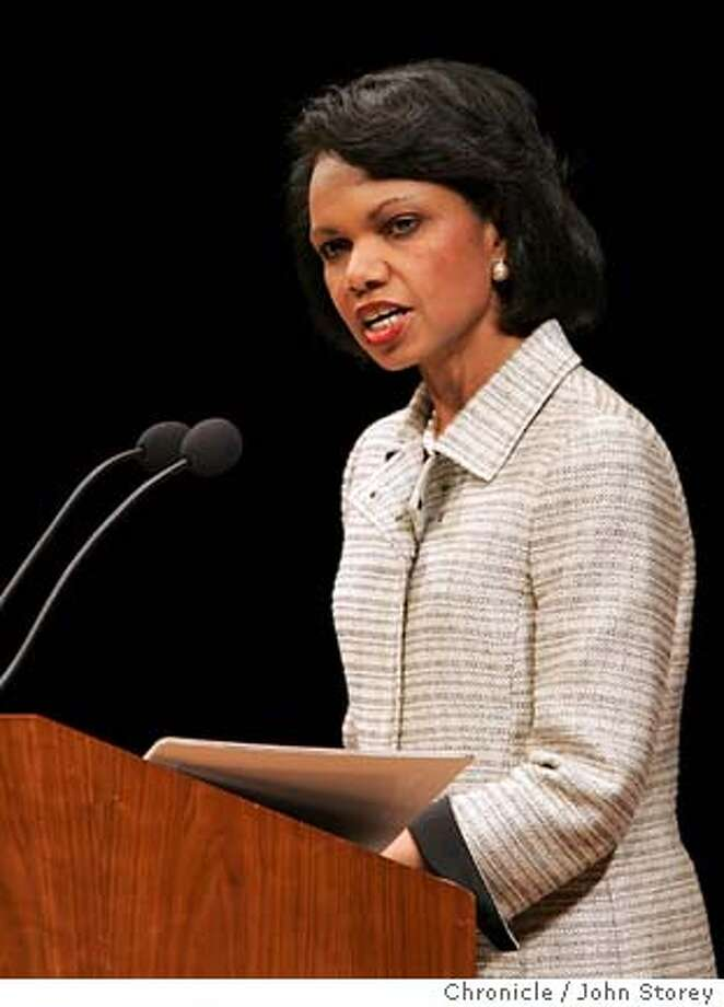 Secretary of State Condoleezza Rice speaks to the Commonwealth Club at Davies Symphony Hall. John Storey San Francisco Event on 5/27/05 Photo: John Storey
