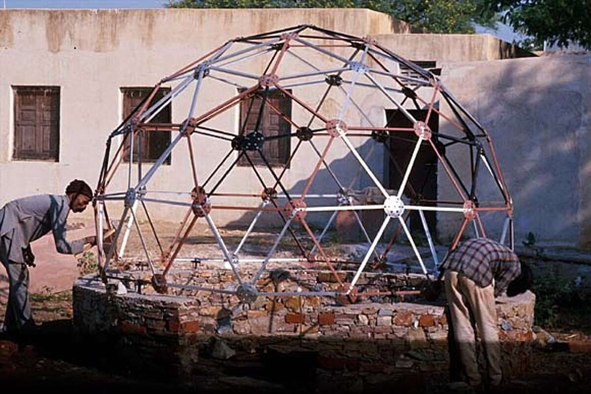 Geodesic domes by Barefoot Architects in Tilonia, India, led by Bunker Roy's volunteers are proudly constructed by village laborers from scrap metal and covered in a variety of materials according to their functions. Photo courtesy of the Aga Khan Award for Architecture