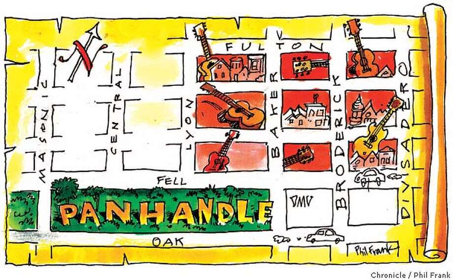 Panhandle. Chronicle illustration by Phil Frank