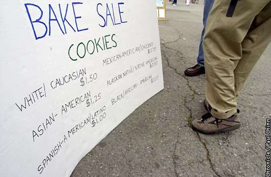 The price on the group's menu ranged from $1.50 for Whites to 25 cents for African-Americans. The Berkeley College Republicans held a bake sale to attack affirmative action practices at UC Berkeley.  PAUL CHINN/SF CHRONICLE Photo: PAUL CHINN